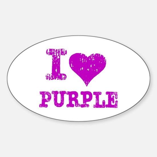 I Love Purple Oval Decal