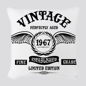 Vintage Perfectly Aged 1967 Woven Throw Pillow