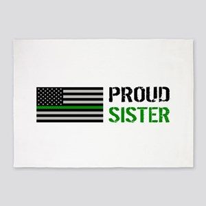 U.S. Flag Green Line: Proud Sister 5'x7'Area Rug