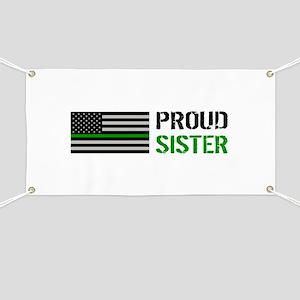 U.S. Flag Green Line: Proud Sister (White) Banner