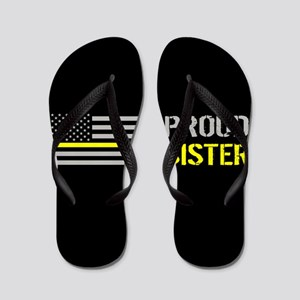 U.S. Flag Yellow Line: Proud Sister (Bl Flip Flops