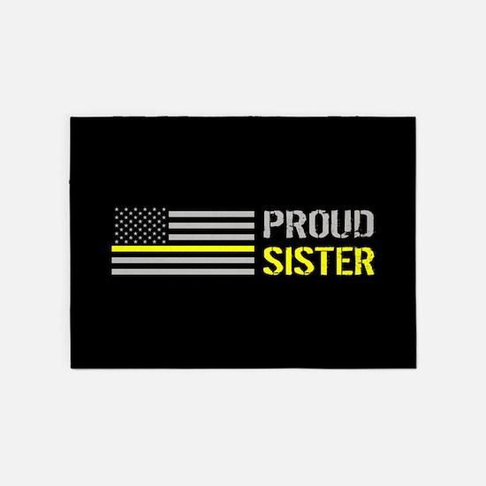 U.S. Flag Yellow Line: Proud Sister 5'x7'Area Rug