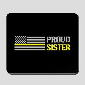 U.S. Flag Yellow Line: Proud Sister (Bla Mousepad