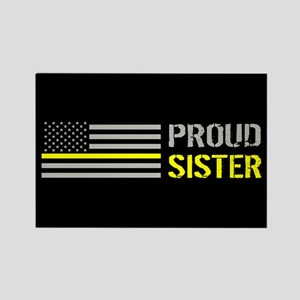 U.S. Flag Yellow Line: Proud Sist Rectangle Magnet