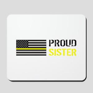 U.S. Flag Yellow Line: Proud Sister (Whi Mousepad