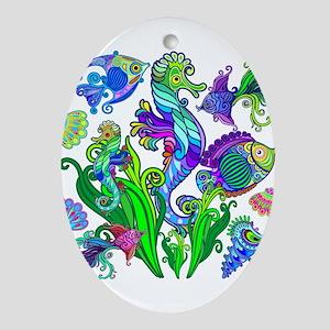 Exotic Marine Life Decorative Style Oval Ornament