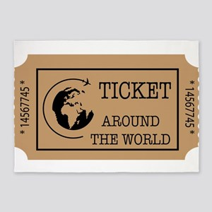 Around the World Ticket 5'x7'Area Rug
