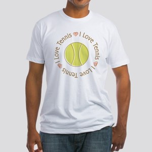 I Love Heart Tennis Fitted T-Shirt