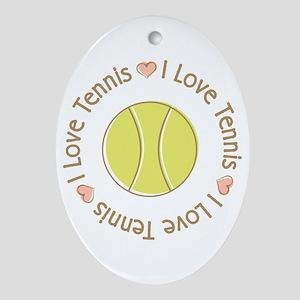 I Love Heart Tennis Oval Ornament