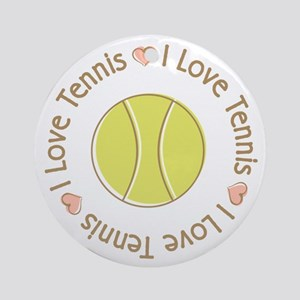 I Love Heart Tennis Ornament (Round)