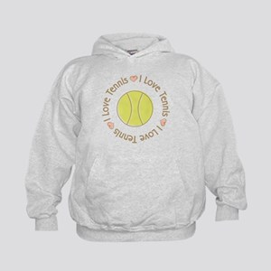 I Love Heart Tennis Kids Hoodie
