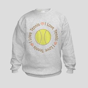 I Love Heart Tennis Kids Sweatshirt
