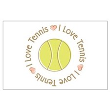 I Love Heart Tennis Large Poster