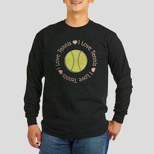 I Love Heart Tennis Long Sleeve Dark T-Shirt