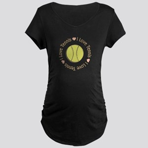 I Love Heart Tennis Maternity Dark T-Shirt