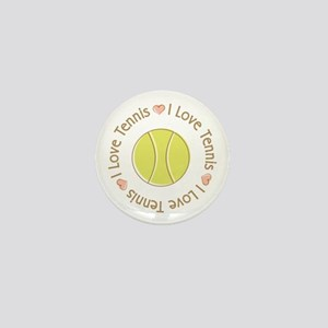 I Love Heart Tennis Mini Button
