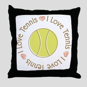 I Love Heart Tennis Throw Pillow