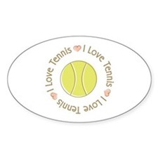 I Love Heart Tennis Oval Sticker