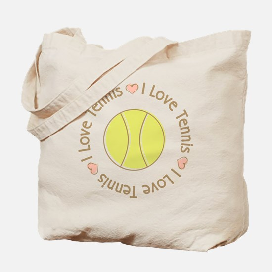 I Love Heart Tennis Tote Bag