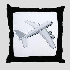 Jetliner Top View Retro Throw Pillow