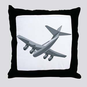 Jet Airliner Touchdown Retro Throw Pillow