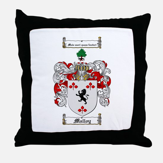 Malloy Family Crest Throw Pillow