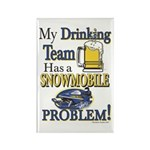 My Drinking Team has a Snowmobile Rectangle Magnet