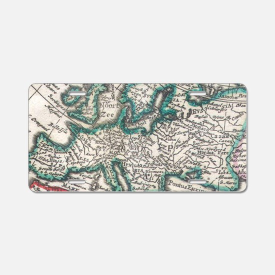 Vintage Map of Europe (1685 Aluminum License Plate