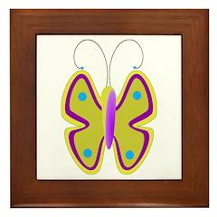yellow butterfly Framed Tile