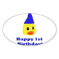 Happy 1st Birthday Oval Sticker (10 pk)