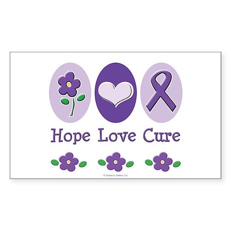 Purple Ribbon Alzheimer's Rectangle Sticker