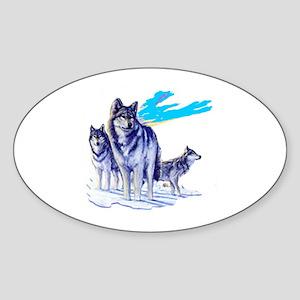 Howling Wolf Oval Sticker