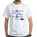 On the Seventh Day God Create White T-Shirt