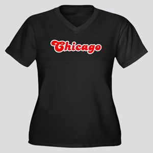 Retro Chicago (Red) Women's Plus Size V-Neck Dark