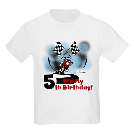 Motorcycle Racing 5th Birthday Kids Light T-Shirt