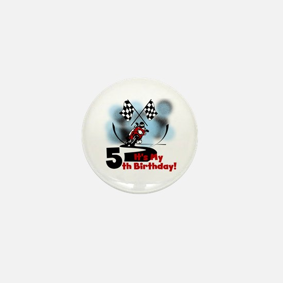 Motorcycle Racing 5th Birthday Mini Button