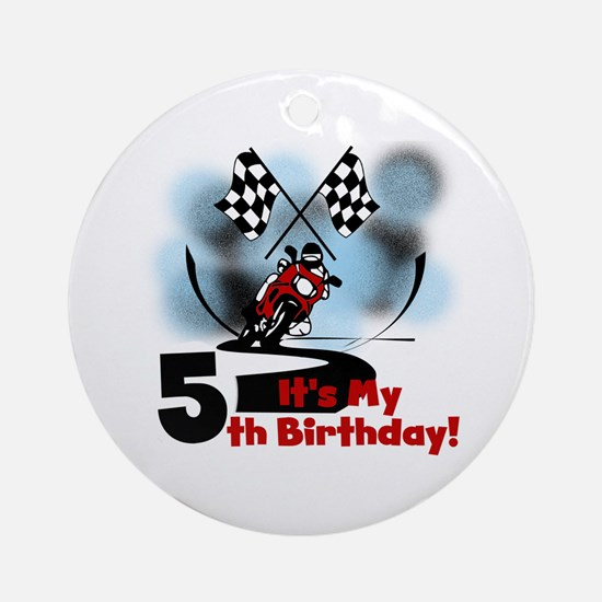 Motorcycle Racing 5th Birthday Ornament (Round)