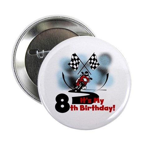 """Motorcycle Racing 8th Birthday 2.25"""" Button"""