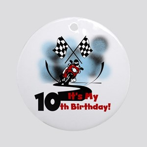 Motorcycle Racing 10th Birthday Ornament (Round)