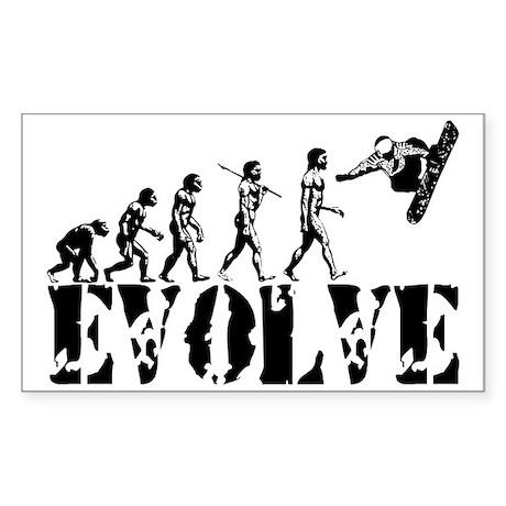 Snowboarding Evolution Rectangle Sticker