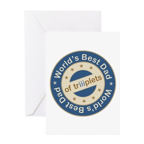 World's Best Dad of Triplet Boys Greeting Card