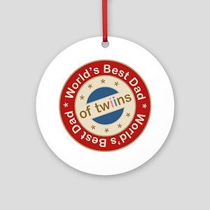 World's Best Dad of Twin Boy Girl Ornament (Round)