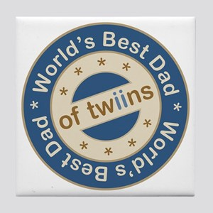World's Best Dad of Twin Boys Tile Coaster