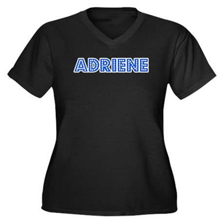 Retro Adriene (Blue) Women's Plus Size V-Neck Dark