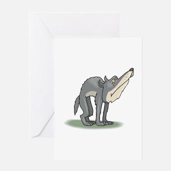 Funny Grey Wolf Greeting Card