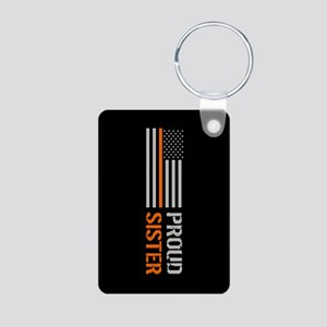 U.S. Flag Orange Line: Pro Aluminum Photo Keychain