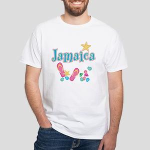Jamaica Flip Flops - White T-Shirt