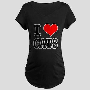I Heart (Love) Cats Maternity Dark T-Shirt