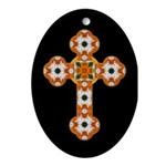 Floral Cross Oval Ornament