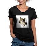 Funny Wolf Face Women's V-Neck Dark T-Shirt